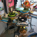 The Temple of Borft\installation detail)\jeans, wood, plants, chinese porcelin, cloth, records player, speakers, amplifier, drawings, collages, mixed media, size variable, Bonniers Konsthall Stockholm, (SE) 2010